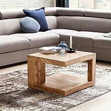 WOHNLING Couchtisch aus Massivholz Akazie Beistelltisch | Wohnzimmertisch 58 cm im Landhaus-Stil | Design:olz-Tisch Natur-Produkt Nachttisch | Echt-Holz Massivholztisch Wohnzimmer-Möbel Kaffeetisch