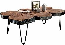 WOHNLING Couchtisch Massiv-Holz Sheesham 115 cm breit Wohnzimmer-Tisch Design Metallbeine Landhaus-Stil Beistelltisch Natur-Produkt Wohnzimmermöbel Unikat modern Massivholzmöbel Echtholz Baumstamm