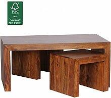 WOHNLING Couchtisch mit Hocker Massiv-Holz Sheesham 110cm breit Wohnzimmer-Tisch dunkel-braun Landhaus-Stil Satztisch Natur-Produkt Wohnzimmermöbel Unikat modern Massivholzmöbel Echtholz rechteckig