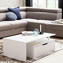 WOHNLING Couchtisch mit Schublade MDF-Holz weiß 100 x 36 x 60 cm modern | Design:ohnzimmertisch flach mit Stauraum | Loungetisch Kaffeetisch