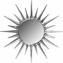 Wohnling Deko Wandspiegel Sunrise Sonne, Ø 76 cm aus Aluminium, Wand-Dekoration Metall Spiegel, Geschenk-Idee Alu Rundspiegel, silber