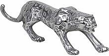 Wohnling Design Deko Figur Panther, 60 x 14 x 14 cm Skulptur aus Aluminium, Moderne Geschenkidee Tierskulptur, Dekoration Tierfigur, silber
