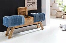 Wohnling Design Turnbock Sitzbank Denim, blau, 120 x 29 x 53 cm