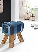 WOHNLING Design Turnbock Sitzhocker DENIM Blau 40 x 30 x 47 cm | Turnhocker Hocker Stoffhocker mit Stauraum | Beistellhocker Fußhocker