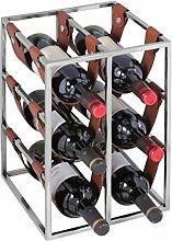 WOHNLING Design Weinregal 6 Flaschen mit Lederschlaufen Alu Silber Flaschenregal | Weinflaschenhalter Metall Modern | Geschenkidee für Weinliebhaber