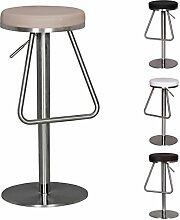WOHNLING Durable M6 | Barhocker mit silberfarbenem Edelstahlgestell | Design Hocker mit Kunstlederbezug in Taupe | Moderner Barstuhl mit Fußablage | Tresenhocker höhenverstellbar & drehbar