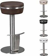 WOHNLING Durable M9 | Barhocker mit silberfarbenem Edelstahlgestell | Design Hocker mit Kunstlederbezug in Braun | Moderner Barstuhl mit Fußablage | Tresenhocker Sitzfläche ist drehbar