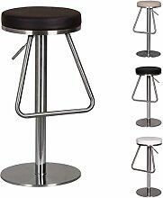 Wohnling Edelstahl Barhocker OHIO Hochwertig, Edler Gastro Barstuhl Sitzfläche Rund 360° Drehbar, Exklusiver Tresenstuhl mit Fußstütze Standfest, Sitzhöhe 54-79 cm höhenverstellbar, braun