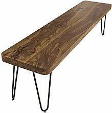 WOHNLING Esszimmer Sitzbank Massiv-Holz Sheesham 120 x 45 x 40 cm Design Holz-Bank Natur-Produkt Küchenbank Landhaus-Stil dunkel-braun Bank 3-Sitzer für innen ohne Rücken-Lehne Echt-Holz unbehandel