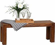 WOHNLING Esszimmer Sitzbank Massiv-Holz Sheesham 120 x 45 x 35 cm Design Holz-Bank Natur-Produkt Küchenbank Landhaus-Stil dunkel-braun Bank 3-Sitzer für innen ohne Rücken-Lehne Echt-Holz unbehandel