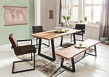 WOHNLING Esszimmer-Tisch Baumstamm Massivholz Akazie 120 x 76 x 60 cm | Robuster Naturholz Esstisch mit Unebenheiten | Echtholz Küchentisch mit Baumkante | Landhaus Holztisch mit 2 Metallbeinen