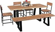 WOHNLING Esszimmer-Tisch Baumstamm Massivholz Akazie 180 x 76 x 80 cm | Robuster Naturholz Esstisch mit Unebenheiten | Echtholz Küchentisch mit Baumkante | Landhaus Holztisch mit 2 Metallbeinen