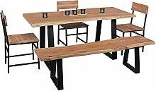 Wohnling Esszimmer-Tisch Gaya Baumstamm Massivholz