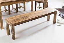 WOHNLING Esszimmerbank RUSTICA 160 x 45 x 38 cm Mango Massiv-Holz | Design Landhaus Sitzbank | Holzbank für Esszimmer | Küchenbank 3 - 4 Personen