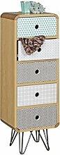 Wohnling Highboard Kuhmo, mit 5 Schubladen, Retro Design, Holz, 30 x 90 x 25 cm