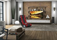 WOHNLING InGamer Soundsessel 2.1 | Gaming Multimedia Rocking Chair | Music Rocker | Soundchair Schwarz & Rot