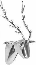 Wohnling Metall Wand-Dekoration Rehkopf, silber, 58 x 46 x 23 cm