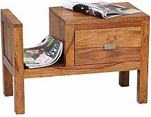 WOHNLING Nachttisch Massiv-Holz Sheesham