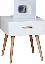Wohnling Retro Nachttisch Matt SCANIO mit Schublade - Füße Eiche weiß