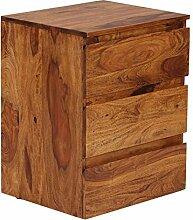 WOHNLING Rollcontainer Sheesham Massivholz Design Schubladenschrank Natur-Holz für Schreibtisch 3 Schubladen Landhaus-Stil Rollwagen Büro 61cm hoch Kommode dunkel-braun Büromöbel Bürocontainer Unika
