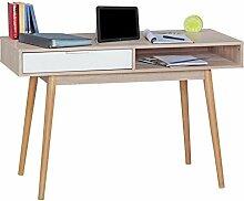 WOHNLING Schreibtisch Design Tisch Bürotisch mit Schublade Sonoma/Weiß Computertisch mit Föcher für Ablage 120 cm modern Computerschreibtisch für Jugendliche platzsparend Laptoptisch für Schüler