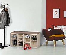 WOHNLING Schuhbank mit Sitzauflage LAURA sonoma Flurbank 103,5 x 53 x 30 cm | Sitzbank mit Regalfächer | Garderobenbank mit Stauraum