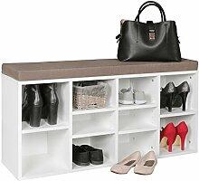 WOHNLING Schuhbank mit Sitzauflage LAURA weiß Flurbank 103,5 x 53 x 30 cm | Sitzbank mit Regalfächer | Garderobenbank mit Stauraum