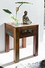 Wohnling Shabby-Chic Nachttisch mit Schublade, dunkelbraun, 40 x 40 x 55 cm