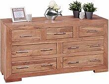 Wohnling Sideboard Massivholz Akazie mit 7 Schubladen, Kommode 140 x 75 x 44 cm im Landhausstil, Design Anrichte aus Naturholz, Moderner Dielenschrank aus echtem Holz mit edlen Metallgriffen