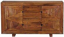 WOHNLING Sideboard Massivholz Sheesham Kommode 145