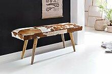 Wohnling Sitzbank innen aus echtem Ziegenfell, braun/weiß, 120 x 40 x 52cm, Echtleder