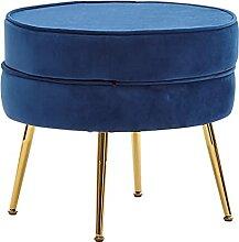 Wohnling Sitzhocker Samt Blau 51x46x51 cm