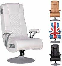 WOHNLING ® Soundchair SPECTER Gaming Chair Weiß Soundsessel Multimediasessel Musik Rocker mit eingebautem Soundsystem Sessel mit Lautsprecher & Subwoofer Music mit Armlehnen und Standfuß