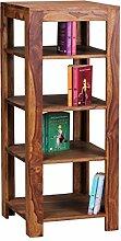 WOHNLING Standregal Massiv-Holz Sheesham 105 cm Wohnzimmer-Regal mit 4 Ablageföcher Design Landhaus-Stil Beistelltisch Natur-Produkt Wohnzimmermöbel Unikat modern Massivholzmöbel Echtholz Anstelltisch