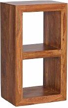 Wohnling Standregal Massivholz Sheesham 88 cm hoch 2 Böden Design Holz-Regal Naturprodukt Beistelltisch Landhaus-Stil Wohnzimmer-Möbel Unikat Echtholz Couchtisch viereckig Anstelltisch dunkel-braun