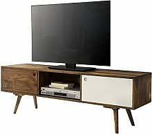 Wohnling TV Lowboard 140 cm, Massiv-Holz Sheesham