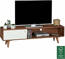 Wohnling TV Lowboard Repa, mit 1 Tür, Sheesham Massiv Holz, 140 x 40 x 35 cm, dunkelbraun/weiß
