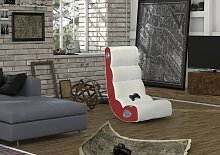 Wohnling WOBBLE Soundsessel 2.1 | Gaming Multimedia Rocking Chair | Music Rocker Soundchair |Multimediasessel Rot & Weiß