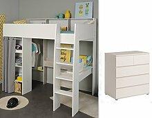 Wohnorama Kinderzimmer-Set 2-tlg inkl 90x200 Hochbett u Kommode 5 Schubkästen Taylor 13 von Parisot Weiss/Grey Lof