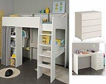 Wohnorama Kinderzimmer-Set 3-tlg inkl 90x200 Hochbett, Schubkastenkommode u Schreibtisch Taylor 16 von Parisot Weiss/Grey Lof