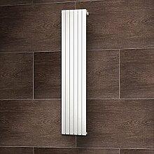 Wohnraum-Heizkörper Rom, Anschluss unten seitlich, 200x46 cm, 1127 Watt Leistung, alpin-weiß, Design-Heizkörper für Zweirohrsysteme