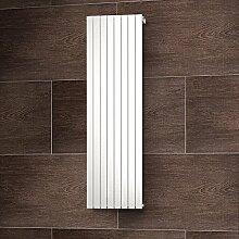 Wohnraum-Heizkörper Rom, Anschluss unten seitlich, 200x61 cm, 1502 Watt Leistung, alpin-weiß, Design-Heizkörper für Zweirohrsysteme