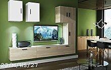 Wohnwand FUTURE 23 Anbauwand Moderne Wohnwand Exklusive Mediamöbel TV Schrank Beleuchtung LED RGB (23/M/WS/27, weiße LED)