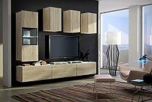 Wohnwand FUTURE 4 Anbauwand Moderne Wohnwand, Exklusive Mediamöbel, TV-Schrank, Neue Garnitur, Beleuchtung LED RGB (Sonoma, Keine) (Sonoma, LED) (Sonoma, LED)