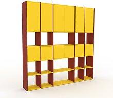 Wohnwand Gelb - Individuelle Designer-Regalwand: