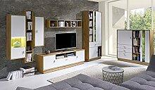 Wohnwand LILA Anbauwand Möbel Schrank Schrankwand Wohnzimmer modernes Design Lefkas Weiß (Korpus: lefkas / Front: weiß mit LED blau)