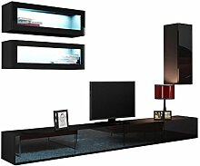 Wohnwand VIGO XI Anbauwand Modernes Wohnzimmer set, Farbauswahl, Mediawand, Glasvitrine, Hängeschrank TV-Schrank (mit blauer LED Beleuchtung, Schwarz / Schwarz Hochglanz)