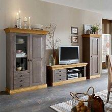 Wohnzimmer Anbauwand in Grau Kiefer Massivholz (3-teilig)