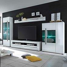 Wohnzimmer Anbauwand in Weiß Hochglanz LED