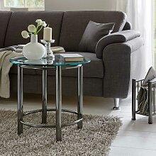 Wohnzimmer- Beistelltisch in Silber Stahl